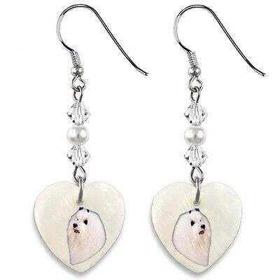 Maltese Dog 925 Sterling Silver Heart Mother Of Pearl Dangle Earrings EP283
