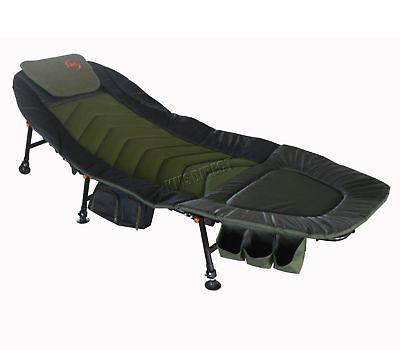 Fishing Camping Bed Chair Bedchair 6 Adjustable Legs Tool Bag Pillow Dark Green