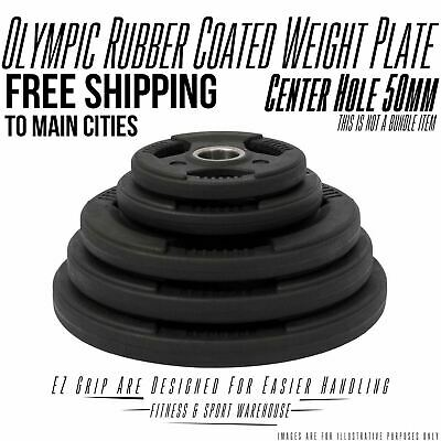 NEW Rubber Coated Olympic Weight Plate 1.25KG-20KG Fitness Weightlifting Gear