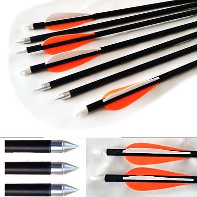 "New Fibreglass CARBON GRADE Steel Tip  30"" Archery Arrows Twice as STRONG"