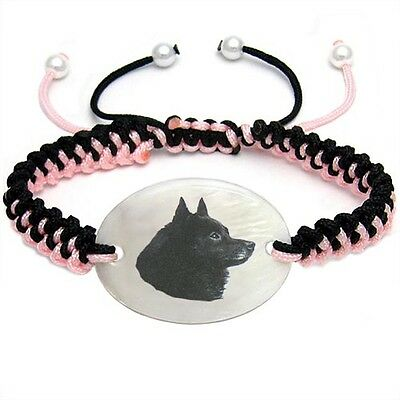 Schipperke Dog Natural Mother Of Pearl Adjustable Knot Bracelet Chain BS6