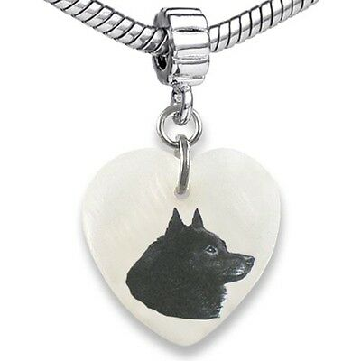 Schipperke Dog Heart Dangle Mother Of Pearl European Bracelet Charm Bead EBS6