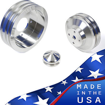 Billet Aluminum Pontiac Pulley Kit 350 400 428 455 Air Conditioning A/C Vintage