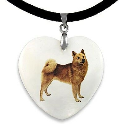 Finnish Spitz Natural Shell Mother Of Pearl Heart Pendant Necklace Chain PP66