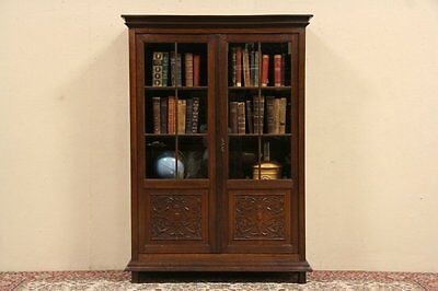 Carved Oak 1895 Antique Bookcase, Glass Doors