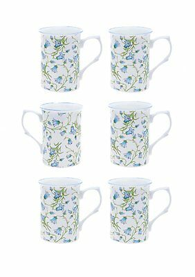 Bone China Set Of 6 Bluebell Chintz Beakers/Mugs- Gift Boxed