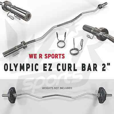 "Olympic EZ E-Z Curl Bar 2"" Weight Plate Lifting Barbell Bar With Spring Collar"