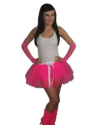 Neon Tutu Skirt 80s Fancy Dress Hen Party Costume Fun Run Gloves & Leg Warmers