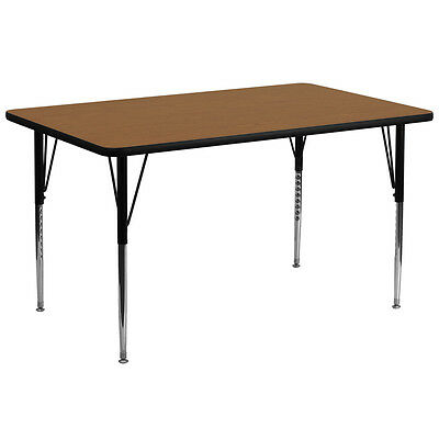 30''W x 72''L Rectangular School Activity Table with Oak Laminate Top
