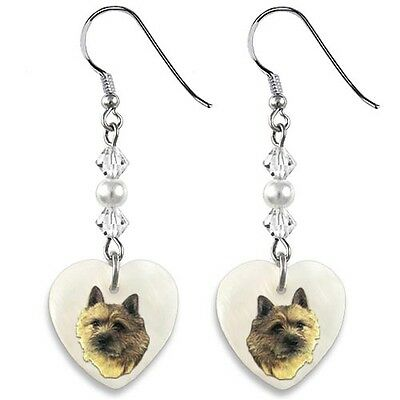 Norwich Terrier 925 Sterling Silver Heart Mother Of Pearl Dangle Earrings EP96