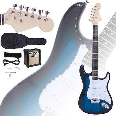 New Electric Guitar + 10W Amp + Gig Bag Case + Guitar Strap Beginners Blue
