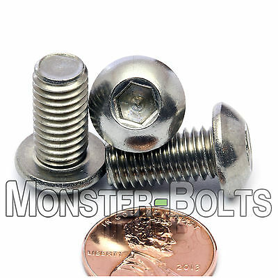 8mm - 1.25 x 16mm - Qty 10 - A2 Stainless Steel BUTTON HEAD Screws M8-1.25 x 16