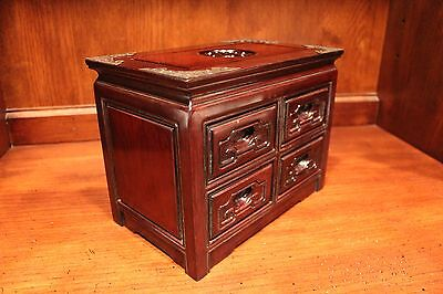 Unique Chinese Rose Wood Jewelry Cabinet with 4 Drawers 8""