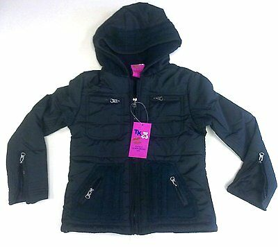Girls Jacket -Padded- Hooded -Zip Up- 4 Pocket With Zip ( Black )(T-K)-(Bnwt