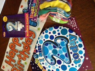 Age 2 Boys Birthday Party Kit Banner Balloons Candle Big Mega Badge All Here