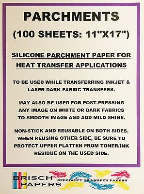 "Silicone Parchment Paper For Heat Transfer Application (11""x17"") 100 Sheets/pk"