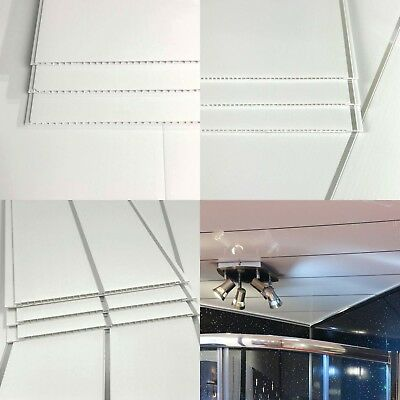 Gloss White Or White Chrome Pvc Plastic Ceiling Wall Cladding Panels Bathroom