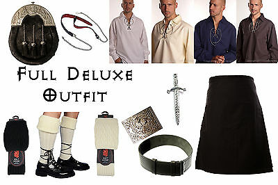 8 Yard Scottish Kilt Package, Complete Deluxe Casual Outfit, Plain Black