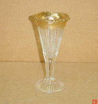 """EAPG CRYSTAL GOLD 6 3/4"""" FOOTED BOUQUET VASE -THE PRIZE - MCKEE & BROS 1900-04"""