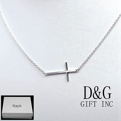 925 sterling silver sideways cross pendant necklace with 18 chain 925 italy sterling silversideway cross pendant necklace 16 18womens new mozeypictures Images
