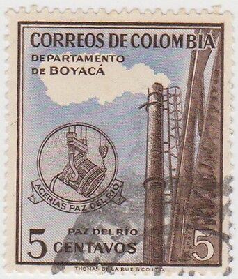 (CO153) 1956 COLOMBIA 5c brown blue view of port ow881