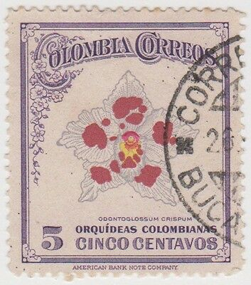 (CO84) 1947 COLOMBIA 5c odontoglossum crspum ow664