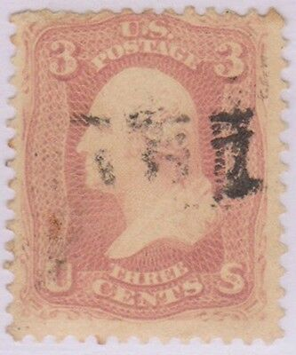 (RC31) 1861 USA 3c red Washington ow62