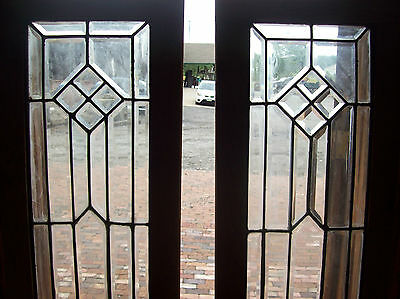 Pair arts and crafts sidelites beveled glass   (SG 1480)