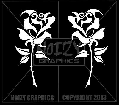 FUNNY CUTE PRETTY VINYL CAR TRUCK WINDOW STICKER DECAL FLOWER TRIBAL ROSE PAIR 2