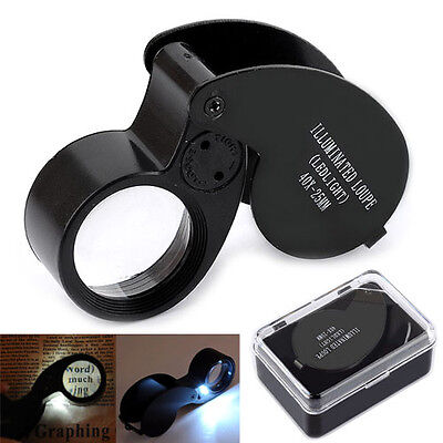 40X25mm Jeweller LED Light Microscope Magnifier Magnifying Eye Glass Loupe Loop