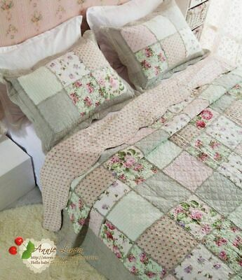 Annie Shabby Country Patchwork Quilt King/Double BedSpread/Throw+2 Pillow Cases