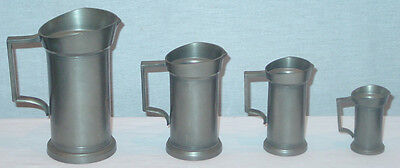 Vintage Royal Holland Kmd Progressive Size Set Of 4  Daalderop Pewter Pitchers