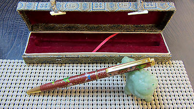 CLOISONNE Red And Gold Ball Point Pen Boxed Nice Heavy Pen