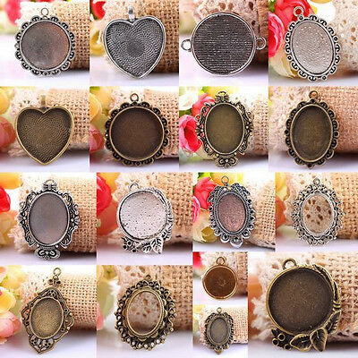Tibetan Silver/Bronze Photo Picture Frame Cabochon Pendant Beads Charms Jewelry