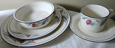 Lenox Poppies On Blue Chinastone 5 Piece Dinner Place Setting Bowl Plate Cup