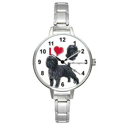 I Love Affenpinscher Dog Italian Charm Bracelet Mens Ladies Wrist Watch BM384