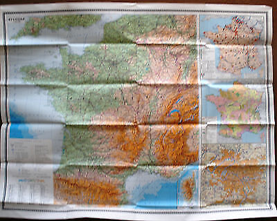 Vintage Soviet Wall Map France Moscow 1981 M 1:1 750 000