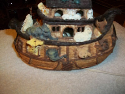 """Noah's  Ark 9"""" Long Electric Lighted Boat Animals Religious Christian Elephant"""