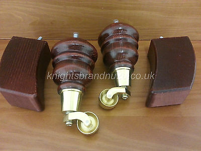 4x WOODEN FEET FURNITURE LEGS WITH BRASS CASTORS SETTEE CHAIRS SOFAS M8(8mm)