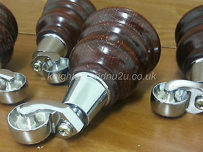 4x WOODEN FURNITURE LEGS/FEET WITH CHROME CASTORS, SOFA, CHAIR, SETTEES M8(8mm)