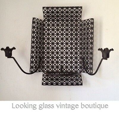Vintage Atomic Age Mid Century Plant Holder Candle Holder Wall Mount Retro
