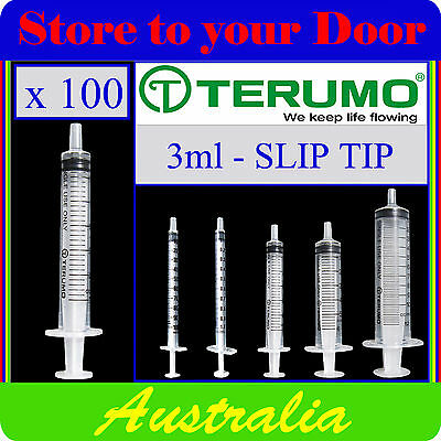 100 x 3ml Terumo Syringe SLIP TIP - Syringes only - No Hypodermic Needle