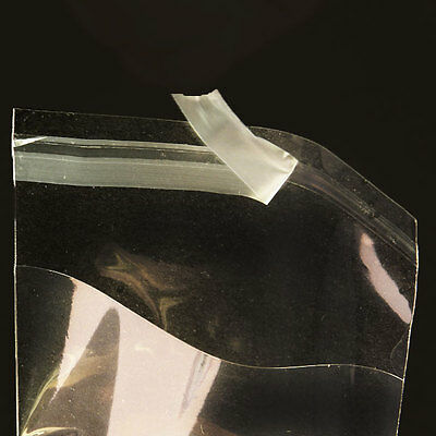 100 Clear Self Adhesive Resealable Cello Polypropylene Multi-Sized Bags 1.2 Mil