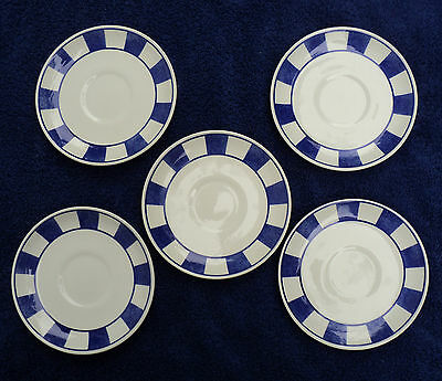 5 Johnson Bros Hopscotch - Blue Saucers England Blue & White