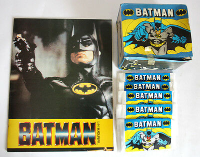 Ultra Rare Batman 1989 Empty Sticker Album + Full Box With 100 Packs Greek New !