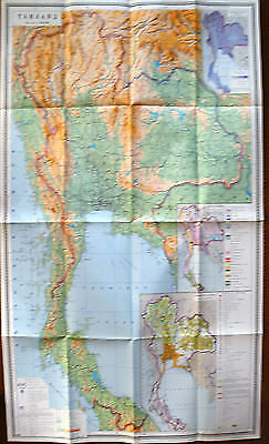 Vintage Soviet Wall Map Thailand Moscow 1977 M 1:2 000 000
