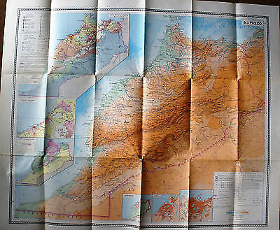 Vintage Soviet Wall Map Morocco Moscow 1973