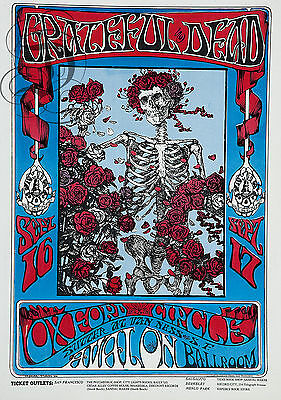 Repro Affiche Grateful Dead Oxford Circle  Sur Papier 310 Ou 190 Grs