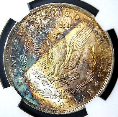 1884-O Morgan Dollar MS63 NGC Bright White Obv Monster Rainbow End Roll Tone Rev