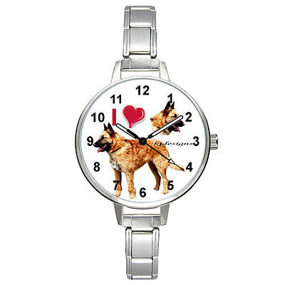 I Love Belgian Shepherd Laekenois Italian Charm Mens Ladies Wrist Watch BM386